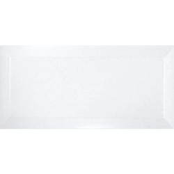 Carrelage métro biseauté blanc brillant 10x20 cm - 1m² Ribesalbes