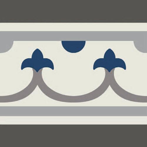 Carrelage imitation ciment bordure décor bleu 20x20 cm PASION CENEFA AZUL - unité Ribesalbes