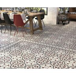 Carrelage imitation ciment bordure décor rouge 20x20 cm PASION CENEFA ROJO - unité Ribesalbes