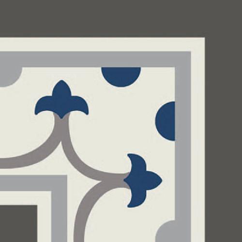 Carrelage imitation ciment coin décor bleu 20x20 cm PASION ESQUINA AZUL - unité Ribesalbes