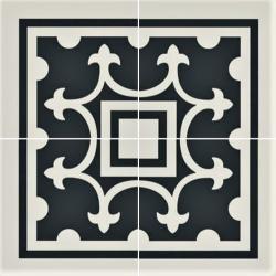 Carrelage imitation ciment coin décor blanc 20x20 cm PASION ESQUINA BLANCO - unité Ribesalbes
