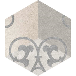 Carrelage hexagonal tomette vieillie décor arabesque 23x26.6cm KUNASHIR - 0.504m²
