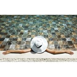 Carrelage piscine effet pierre naturelle PHOENIX MOON 14.8x14.8 cm - 0.70m² Saime