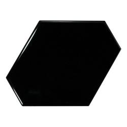 Carreau noir brillant 10.8x12.4cm SCALE BENZENE BLACK - 23833 - 0.44m² Equipe