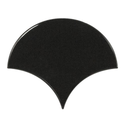 Carreau noir brillant 10.6x12cm SCALE FAN BLACK 21967 - 0.37m²