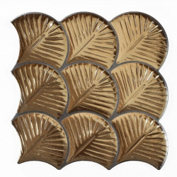 Carreau feuilles dorées brillantes 30x30 SCALE SHELL GOLD - 0.75m²