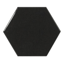 Carreau noir brillant 12.4x10.7cm SCALE HEXAGON BLACK - 0.61m² Equipe