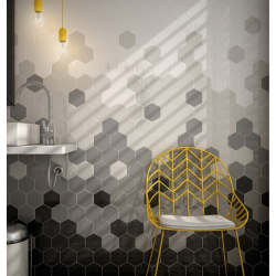 Carreau gris foncé brillant 12.4x10.7cm SCALE HEXAGON DARK GREY 21913 - 0.61m² Equipe