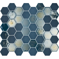 Mosaique mini tomette hexagonale bleu marine 25x13mm SIXTIES BLUE - 1m²