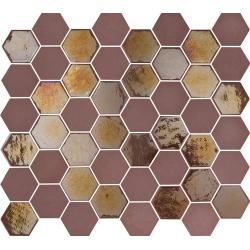 Mosaique mini tomette hexagonale rouge bordeaux 25x13mm SIXTIES BURGUNDY - 1m²