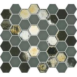 Mosaique mini tomette hexagonale vert scarabée 25x13mm SIXTIES KAKHI - 1m²