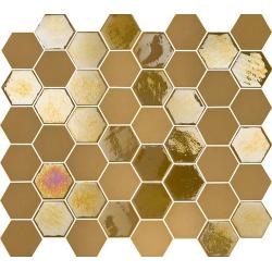 Mosaique mini tomette hexagonale dorée 25x13mm SIXTIES MUSTARD - 1m² Togama