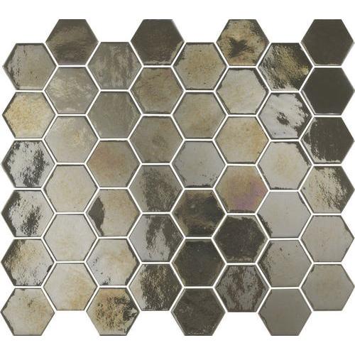 Mosaique mini tomette hexagonale marron gris 25x13mm SIXTIES PEARL TAUPE - 1m² Togama