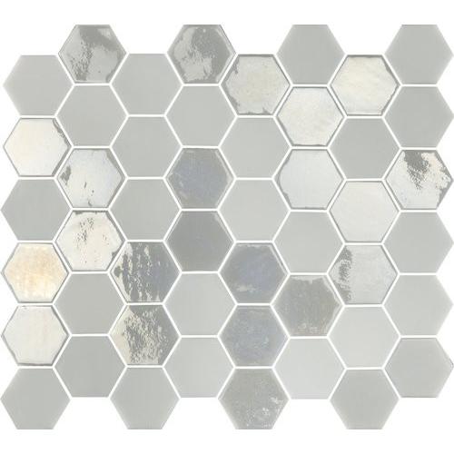 Mosaique mini tomette hexagonale blanc ivoire nacré 25x13mm SIXTIES WHITE- 1m² Togama