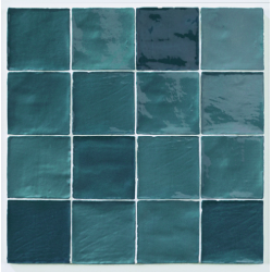 Carrelage effet zellige turquoise 10x10cm STOW MIX TURQUESE - 0.56m²