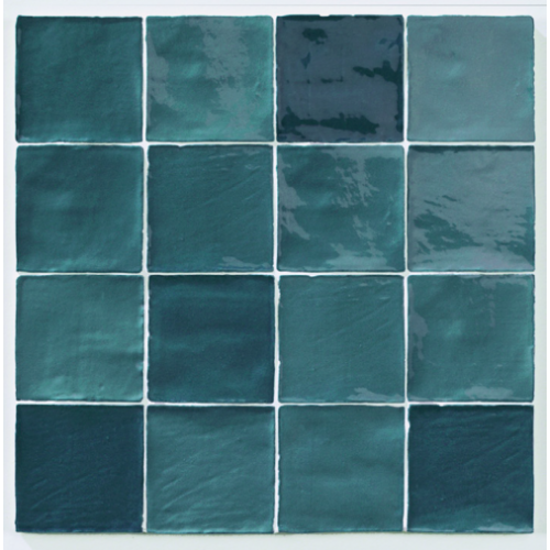 Carrelage effet zellige turquoise 10x10cm STOW MIX TURQUESE - 0.56m² Natucer