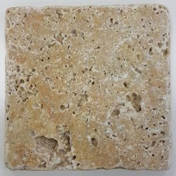 Carrelage pierre TRAVERTIN TR-TAS SCABOS beige noce 10x10CM - 1er choix- 0.5m² Nd