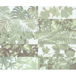 Faience murale brillante décor mural TROPICAL MIX JUNGLE 10x30 cm - 1,02m²