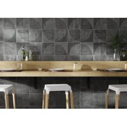 Carrelage imitation ciment décor noir 20x20cm URBAN ARCO DARK 23588 - 1m² Equipe