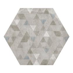 Carrelage hexagonal décor gris 29.2x25.4cm URBAN FOREST SILVER 23615 - 1m²