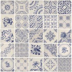 Faience murale bleue style anciens carreaux Decor Toledo 20x20 cm - 1m² Vives Azulejos y Gres