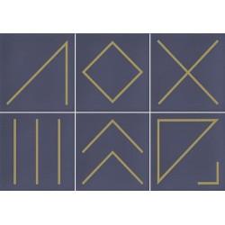 Faïence géométrique bleu marine/doré 23x33.5 cm NAGANO INDIGO- 1m² Vives Azulejos y Gres