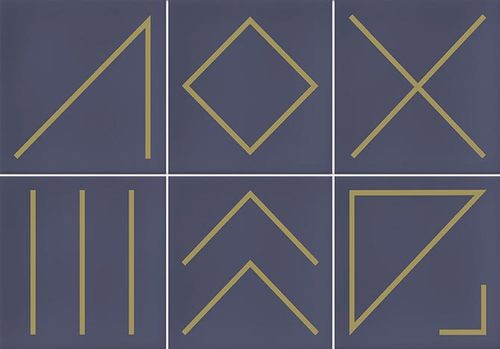 Faïence géométrique bleu marine/doré 23x33.5 cm NAGANO INDIGO- 1m² - zoom