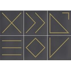 Faïence géométrique marron/doré 23x33.5 cm NAGANO MARENGO- 1m² Vives Azulejos y Gres