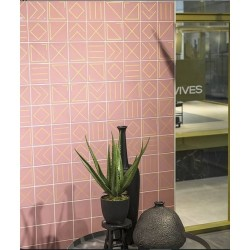 Faïence géométrique rose 23x33.5 cm NAGANO MARSALA - 1m² Vives Azulejos y Gres