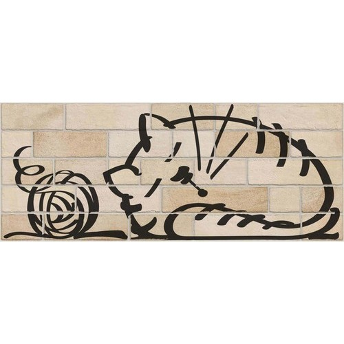 Parement mural briquettes original motif chat Marlon Nuney Beige Arena 20x50cm - 4 pièces Vives Azulejos y Gres