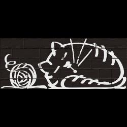 Parement mural briquettes original motif chat Marlon Nuney Noir 20x50cm - 4 pièces Vives Azulejos y Gres