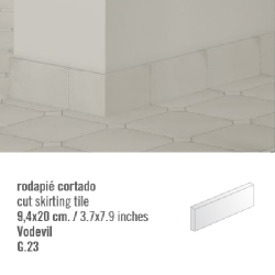 Plinthe intérieur Vodevil 9.4x20 cm - 2mL Vives Azulejos y Gres