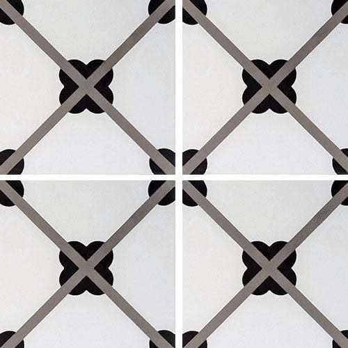Carreau de ciment géométrique trèfle noir 20x20 cm ref7250-1 -   - Echantillon Carreaux ciment véritables