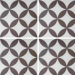 Carreau de ciment véritable Quatre-feuilles grise 20x20 cm ref7180-1 -   - Echantillon Carreaux ciment véritables