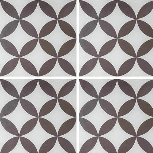 Carreau de ciment véritable Quatre-feuilles grise 20x20 cm ref7180-1 -   - Echantillon - zoom
