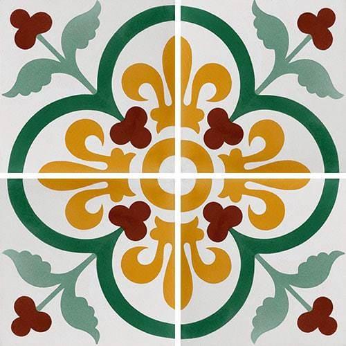 Carreau de ciment lys et fleurs 20x20 cm ref7310-1 -   - Echantillon - zoom