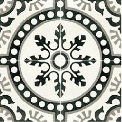 Carreau de ciment décor rosace noire 20x20 cm ref7620-1 -   - Echantillon Carreaux ciment véritables