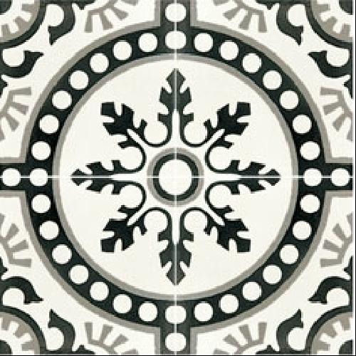 Carreau de ciment décor rosace noire 20x20 cm ref7620-1 -   - Echantillon - zoom