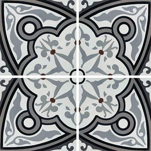 Carreau de ciment rosace grise 20x20 cm ref7650-3 -   - Echantillon - zoom