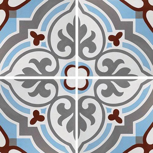 Carreau de ciment arabesque turquoise 20x20 cm ref7670-1 -   - Echantillon - zoom