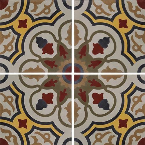 Carreau de ciment décor soleil ancien 20x20 cm ref7910-1 -   - Echantillon - zoom