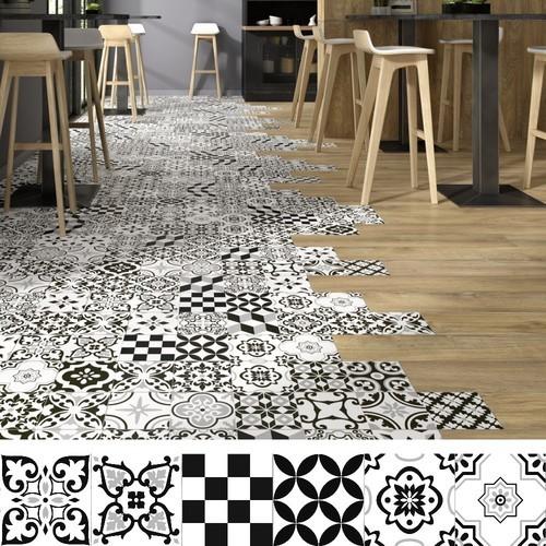 Carrelage style parquet ciment ARTIC BLACK 15x90 cm -   - Echantillon Oset