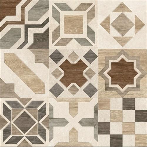Carrelage parquet à motif ciment rect. PHUKET MIX IVORY R10 60x60 cm -   - Echantillon Baldocer