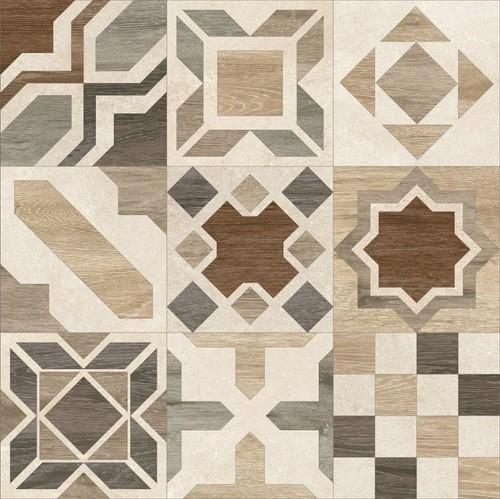 Carrelage parquet à motif ciment rect. PHUKET MIX IVORY R10 60x60 cm -   - Echantillon - zoom