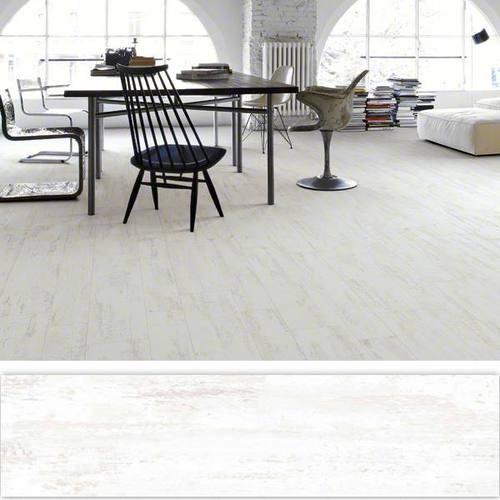 Carrelage imitation parquet rectifié blanc mat EFESO-R BLANCO 14.4x89.3 cm -   - Echantillon - zoom