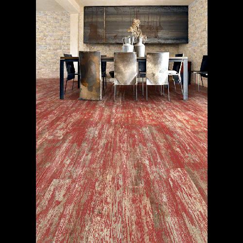 Carrelage imitation parquet rouge rectifié vieilli mat YUGO Volcan 14.4x89.3 -   - Echantillon Vives Azulejos y Gres
