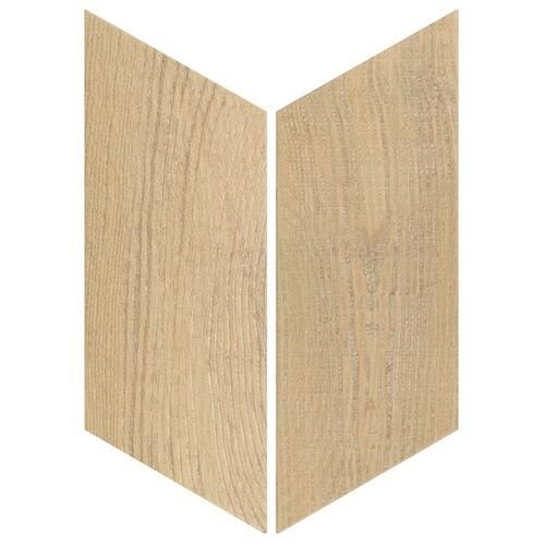 Chevron imitation bois sol ou mur 9x2 cm HEXAWOOD NATURAL -   - Echantillon - zoom