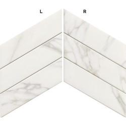 Carrelage losange blanc marbré 70x40 DIAMOND STATUARIO CHEVRON -   - Echantillon Realonda