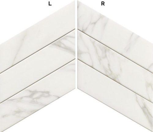 Carrelage losange blanc marbré 70x40 DIAMOND STATUARIO CHEVRON -   - Echantillon - zoom