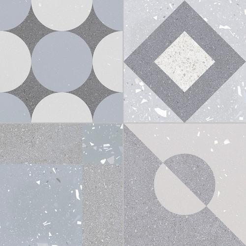 Carrelage style ciment terrazzo FUSION GREY 33x33 cm -  - Echantillon - zoom